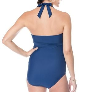 Motherhood Maternity Swim - Motherhood Maternity ruffled navy swimsuit
